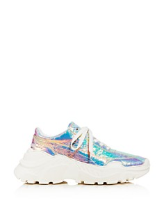 Joshua Sanders - Women's Leather & Holographic Foil Lace Up Sneakers
