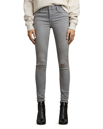 ALLSAINTS - Grace Distressed Skinny Jeans in Gray
