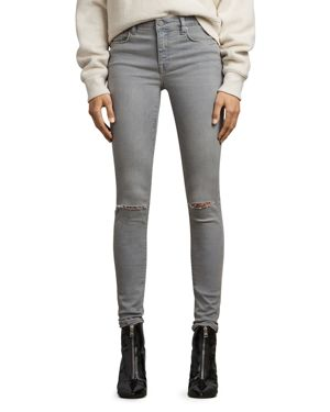 Allsaints Grace Distressed Skinny Jeans in Gray 2734462