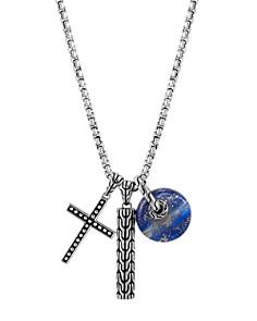 "John Hardy Sterling Silver Jawan Lapis Lazuli & Cross Charm Pendant Necklace, 26"" - Bloomingdale's_0"