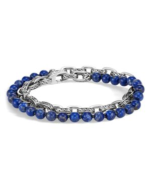 John Hardy Sterling Silver Classic Chain Lapis Lazuli Double Wrap Bracelet
