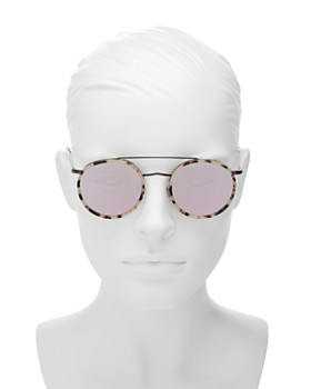 Illesteva - Women's Allen Brow Bar Mirrored Round Sunglasses, 50mm