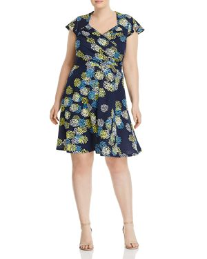 Leota Plus Printed Faux-Wrap Flutter Dress