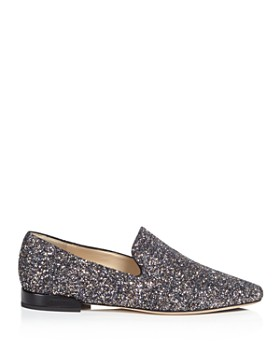 Jimmy Choo - Women's Jaida Glitter Square Toe Smoking Slipper Flats
