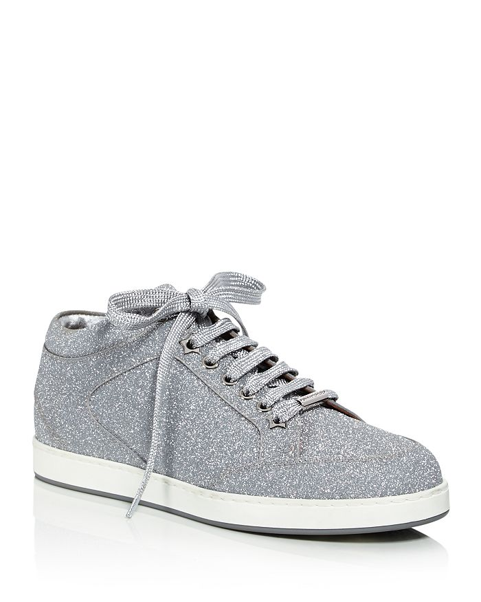 8af446a79cc8 Jimmy Choo Women's Miami Glitter Leather Low Top Lace Up Sneakers ...