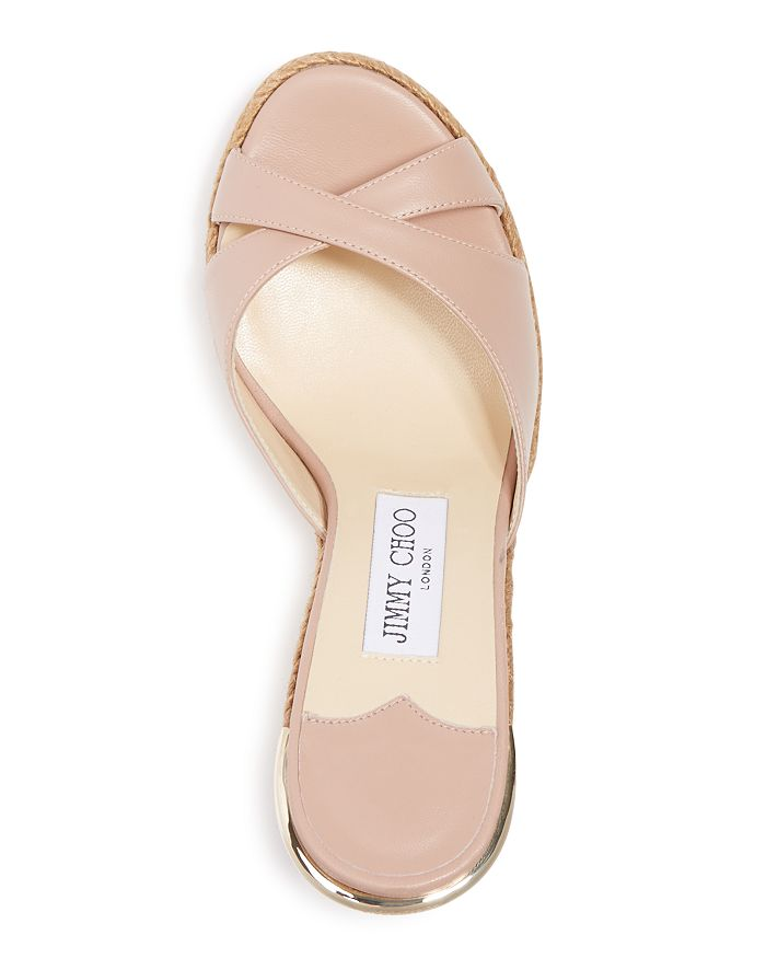 d4e9e037dc02 Jimmy Choo - Women s Almer Leather   Braid Trim Platform Wedge Slide Sandals