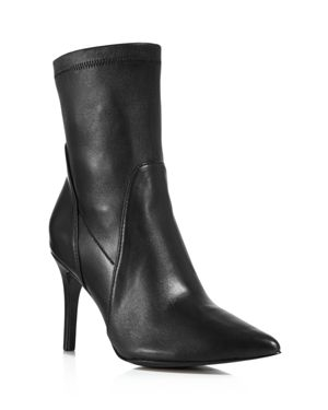Women'S Laurent Stretch Leather Pointed Toe Booties, Black Leather
