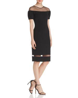 Avery G Scuba Crepe Illusion Dress