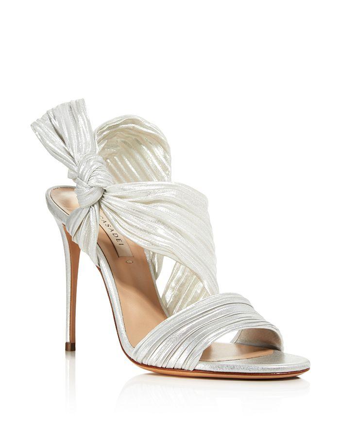 Casadei - Women's Marissa Pleated Satin High-Heel Sandals