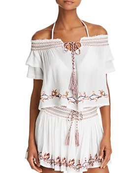 Surf Gypsy - Embroidered Off-the-Shoulder Top & Embroidered Mini Skirt Swim Cover-Up