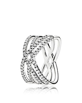 PANDORA - Sterling Silver & Cubic Zirconia Cosmic Lines Ring