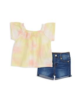7 For All Mankind - Girls' Tie-Dye Top & Denim Shorts Set - Baby