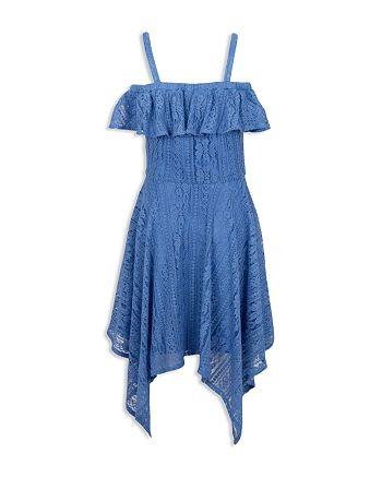BCBGirls - Girls' Ruffled Cold-Shoulder Lace Dress - Big Kid