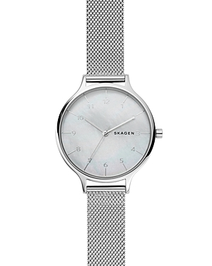 Skagen ANITA STEEL MESH MOTHER OF PEARL WATCH, 36MM