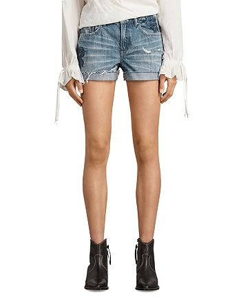 ALLSAINTS - Pam Rose Denim Shorts in Indigo Blue