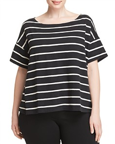 Eileen Fisher Plus - Striped Boatneck Top