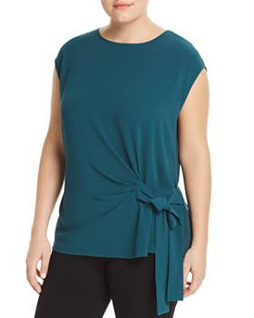 VINCE CAMUTO Plus - Mixed Media Side-Tie Top