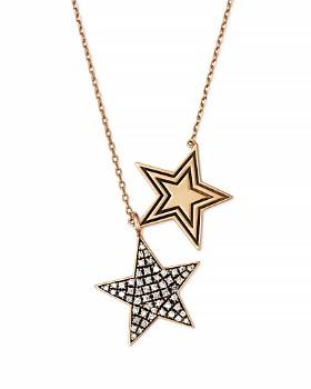 "SUEL - Blackened 18K Yellow Gold Twin Star Diamond Necklace, 27"""