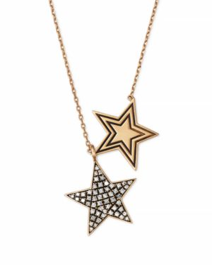 SUEL BLACKENED 18K YELLOW GOLD TWIN STAR DIAMOND NECKLACE, 27