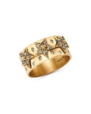 SUEL BLACKENED 18K YELLOW GOLD STAR DIAMOND BAND