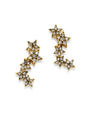 SUEL BLACKENED 18K YELLOW GOLD TWINKLE STAR DIAMOND EARRINGS
