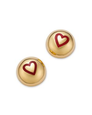 SUEL 14K YELLOW GOLD DOMED HEART EARRINGS