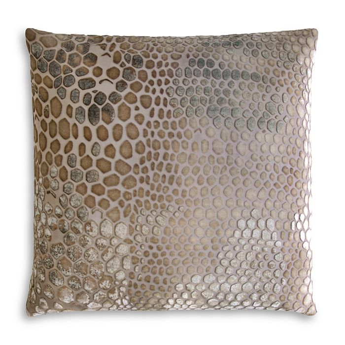 Kevin O'brien Studio Snakeskin Velvet Decorative Pillow, 18 X 18 In Coyote