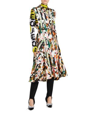 Graffiti Archive Scarf Print Silk Shirt Dress, Multicolor