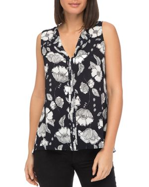 B COLLECTION BY BOBEAU Lily Sleeveless Floral-Crepe Blouse in Blue Pattern