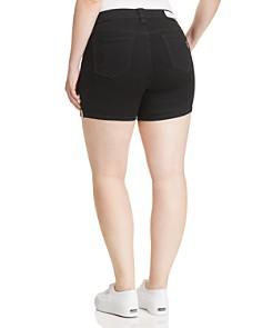 SLINK Jeans Plus - Side Vent Denim Shorts in Black
