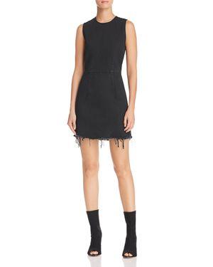 Denim X Alexander Wang Fray Hem Sleeveless Shift Dress, Black Fade