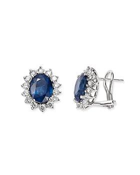 Bloomingdale's - Blue Sapphire & Diamond Stud Earrings in 14K White Gold - 100% Exclusive