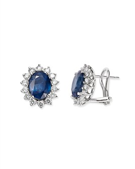 Bloomingdale's - Blue Sapphire & Diamond Stud Earrings in 14K White Gold - 100% Exclusive