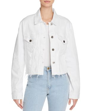 PISTOLA NAYA RAW-EDGE CROPPED DENIM JACKET
