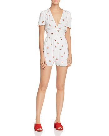 AQUA - Cherry Print Romper - 100% Exclusive