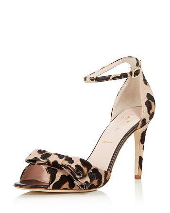 9b7c0ff12175 kate spade new york - Women s Ismay Leopard Print Calf Hair High-Heel Bow  Sandals