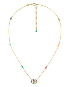 Gucci - 18K Yellow Gold Running G Mixed Gemstone Pendant Necklace, 14.5""