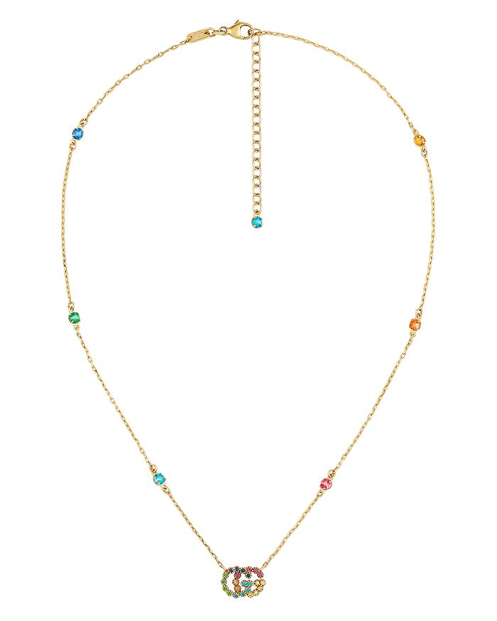 """Gucci - 18K Yellow Gold Running G Mixed Gemstone Pendant Necklace, 14.5"""""""