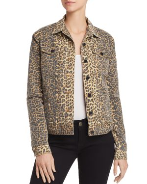 Leopard-Print Button-Front Denim Jacket