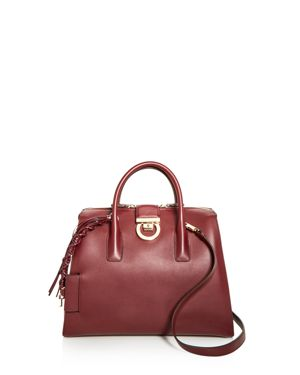 LOCK TOTE LARGE LEATHER SATCHEL
