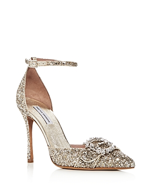 Tabitha Simmons Women's Tie the Knot Glitter Pointed Toe Pumps