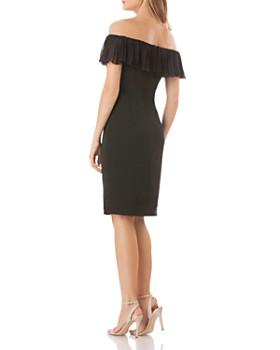 Carmen Marc Valvo - Off-the-Shoulder Crepe Dress