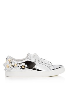 MARC JACOBS - Women's Daisy Embellished Patent Leather Lace Up Sneakers