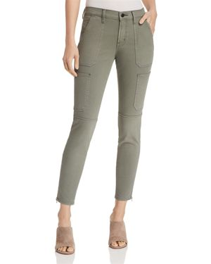 Cropped Stretch Cotton-Blend Twill Skinny Pants, Castor Gray