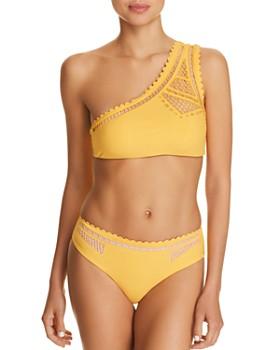 Red Carter - Peek-A-Boo One Shoulder Bikini Top & Bikini Bottom