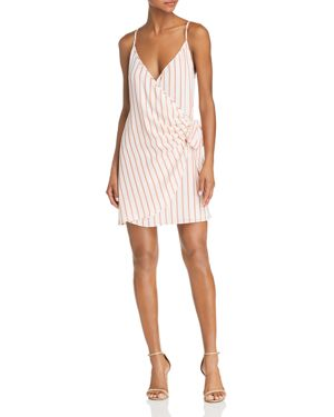 SAGE THE LABEL Sage The Label Aurelia Striped Mini Wrap Dress in Coral