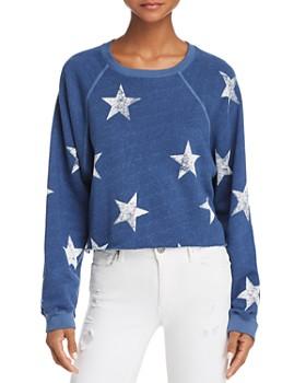 Monrow - Star Print Cropped Sweatshirt