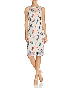 Adrianna Papell Floral Embroidered Lace Dress