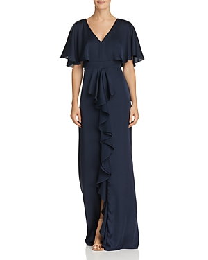 Adrianna Papell Capelet Ruffle Gown