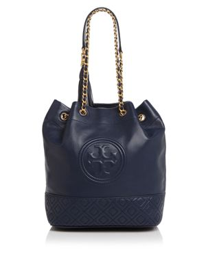 Fleming Convertible Quilted Leather Bucket Bag in Blue